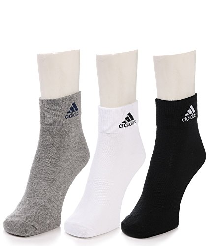 Adidas Flat Knit Ankle socks - Pack of 3 ( Grey/White/Black)