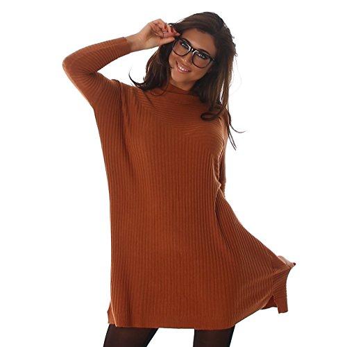 Voyelles Damen Pullover Pulli Kleid Minikleid Mini Longshirt Oversize Rundhals-Ausschnitt Fledermausärmel Uni-Look Camel
