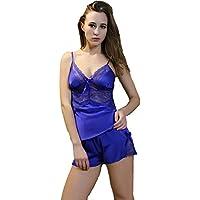 PPOJAS Schlafanzug Lace Satin Damenunterwäsche Set Pyjamas Blue Nightwear Versuchung weiblich/junge Mädchen Nachtwäsche Set Hot Item