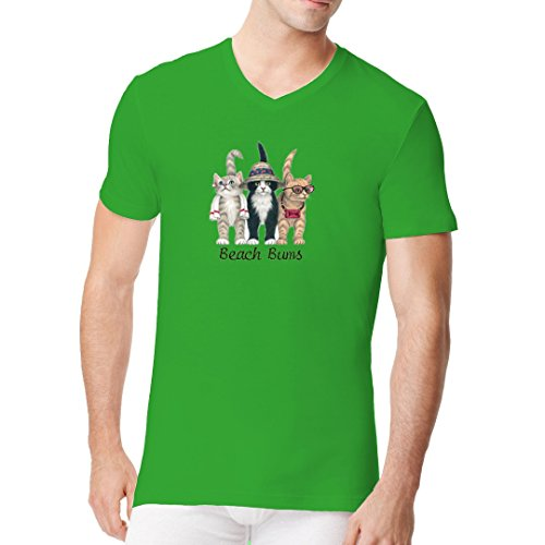 Fun Sprüche Männer V-Neck Shirt - Beach Buns - Touristenkatzen (Front) by Im-Shirt Kelly Green