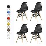 MCC Retro Design Stühle LIA Esszimmerstühle im 4er Set, Eiffelturm inspirierter Style für Küche, Büro, Lounge, Konferenzzimmer etc, 6 Farben, Kult (matt schwarz)