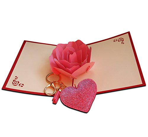 3d-Pop-Up-Karte, groß, mit Herzen, mit schönen Perlen, Blumen, handgefertigt, Geschenk für Geburtstag, Valentinstag, Kirigami, für Jahrestag Geburtstag Geschenk für Frauen, (Valentinstag-karten Große)