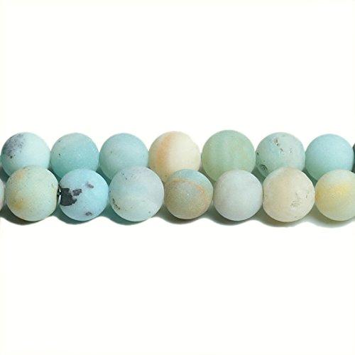 Filo 62+ multicolore amazzonite 6mm tondo satinato perline - (cb31194-2) - charming beads