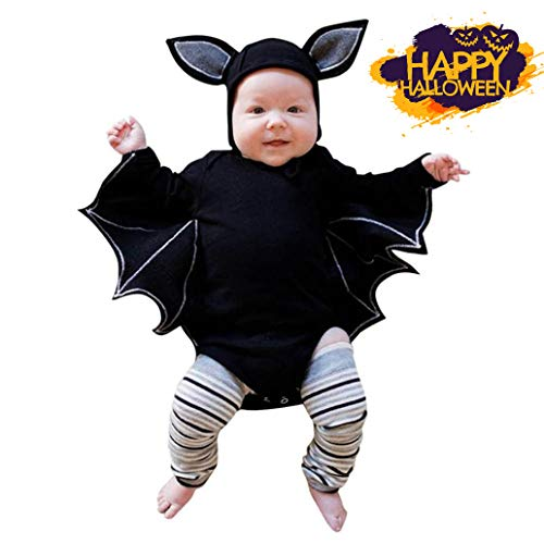 Saihui Halloweenkostüm,Niedlich Fledermaus Kostüm für Baby Halloween Karneval Party Kleid (Schwarz, 6~12 Monat)