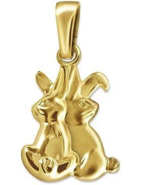 CLEVER SCHMUCK Goldener Anhänger Hase als Hasenpaar 13 mm seidenmatt und glänzend 333 GOLD 8 KARAT im Etui
