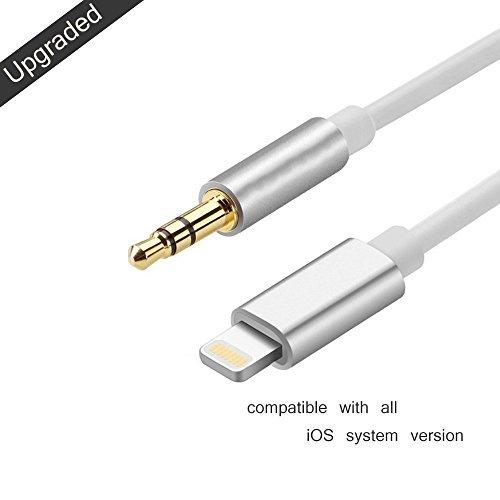 Sunshot Blitz zu 3.5mm Mann zu männlichem Aux Stereo Audio Goldkabel Kabel für iPhone 7 & 7 Plus - Premium Kopfhörer Adapter zum Auto Stereo (3,5 mm Aux Kabel 3.3ft / 1M) (Silber) (Stereo-lautsprecher-adapter-schnüre)