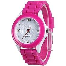 Vovotrade mujer niña silicona caucho jalea gel geometría flor cara reloj de pulsera de cuarzo (Rosa caliente)