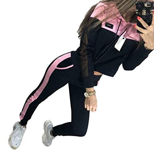 Mxssi 2pc felpa con cappuccio casual tute per donna felpa con cappuccio set felpa + pantaloni 2 pezzi completi donna felpa tuta rosa m