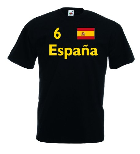 Fruit of the Loom Spanien Espana Herren T-Shirt Trikot Fan Shirt Nr.6|s-xl -