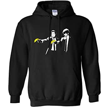 Refugeek Tees - Hommes Banksy Sweat à Capuche - Pulp Fiction Bananas - Small - Black