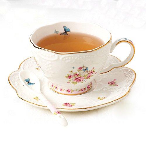 ufengke Europäisch Erleichterung Blumen Goldfolie Bone China Kaffeetasse Und Untertasse Tee Tasse