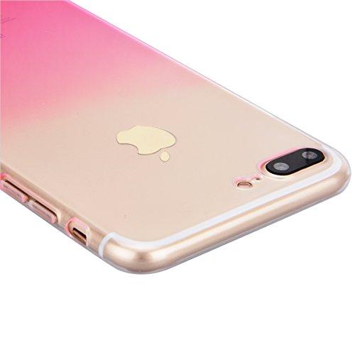 HB-Int 3 en 1 Transparente Housse TPU Etui pour Apple iPhone 7 (4.7 pouces) Clear Invisible Case Cover Bleu Gradient Couleurs Design Coque Doux Silicone Gel Couverture Légère Slim Flexible Coque Prote Rosso