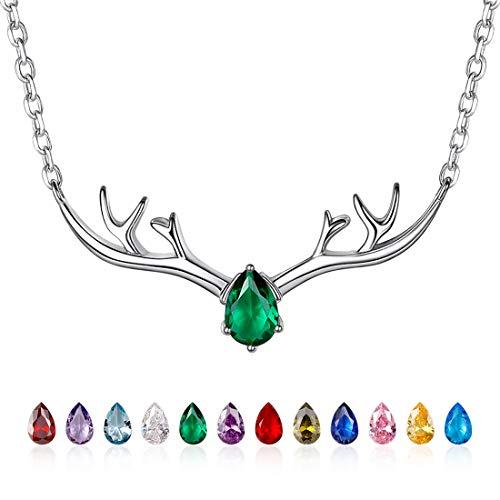 lier 925 Sterling Silber Hirschgeweih Schlüsselbein Kette Geburtsstein Mai Anhänger mit 1,5mm 46cm verstellbar Halskette für Frauen Mädchen Geburtstagsgeschenk ()