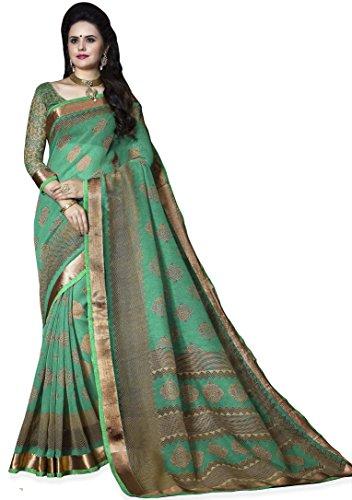 Miraan Women's Linen Saree With Blouse Piece (Srh782-10_Multicolor)