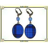 Orecchini resina plaid scozzese blu nero tartan Outlander ottone bronzo perla perline personalizzate regali Natale amici compleanno cerimonia di nozze ospiti festa della madre coppie