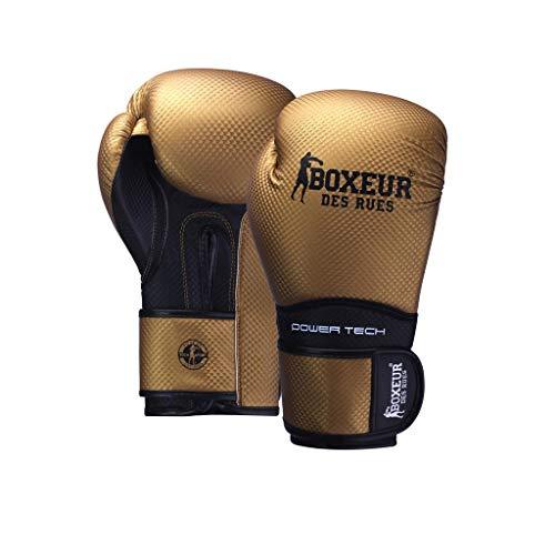 BOXEUR DES RUES Serie Fight Activewear, Guantoni da Boxe in Pelle Sintetica Unisex Adulto, Oro, 10 OZ