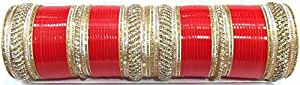 Shingar jewellery Punjabi/suhaag bridal chura in red colour in size 2.4 for women (7729-pc-r-2.4-a)