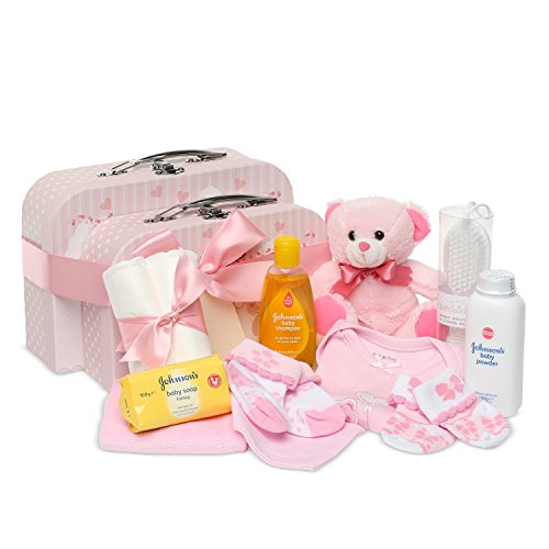 Newborn Baby Gift Set – 2 Keepsake Boxes in Pink with Teddy Bear, Baby Clothes and Gifts for a New Baby Girl