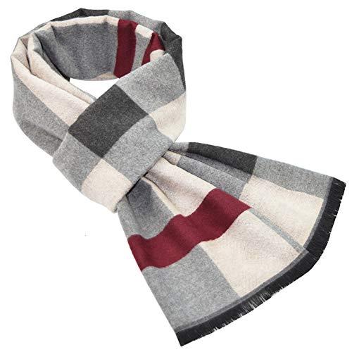 MAKFORT Schal Herren Langer Herrenschal Grau und Rot Business Männerschal Winter Warme Plaid Schal Für Herren 180 * 32 CM