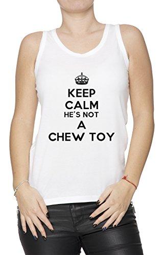 keep-calm-hes-not-a-chew-toy-blanco-algodon-mujer-de-tirantes-camiseta-cuello-redondo-mangas-white-w