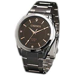 ufengke® fashion stylish rose gold pointers rhinestone watch,steel waterproof wrist watch for men-black