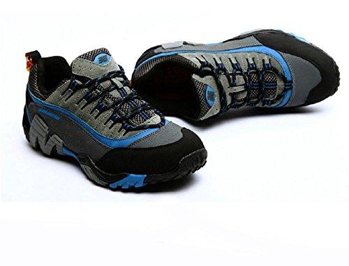 Suetar Scarpe da Escursionismo in Pelle di Moda Uomo/Donna Scarpe da Trekking Outdoor Impermeabili Antiscivolo Autunnali Men Blue
