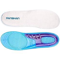 PANSHAN Plantillas de Gel de máxima calidad, con efecto amortiguador y reductor de la presión en el pie - Suelas de calzado para deportes y trabajo EU 41-47