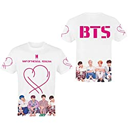 BTS Camiseta Persona, Map of The Soul Persona BTS Camiseta para Mujer KPOP Bangtan Boys Manga Corta Verano Ropa Armee Suga Jimin Jin Jung Jook J-Hope Rap-Monster T-Shirt para Niña