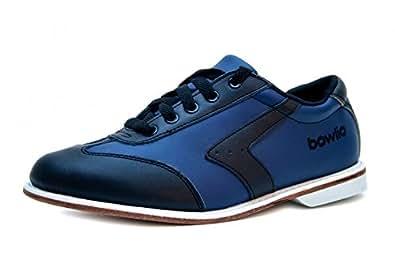 Bowlio Sila - Chaussures de bowling en cuir noir et bleu - Adulte et enfant, Pointure:48