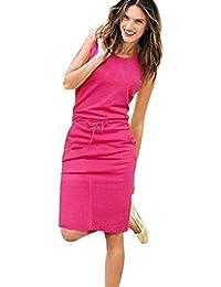 VJGOAL Para Mujer Fiesta O-Cuello sin Mangas Tank Casual Partido Recto Color sólido Mini