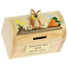 Rabbit & Carrot Money Box with Secret Lock : Handcrafted Wooden Treasure Chest : Top Christmas Gift Idea : High Quality Traditional Xmas Present For Boys, For Girls, For Him, For Her, For Children & For Fun Loving Adults! 30+ Designs (Size 12x9x7cm)