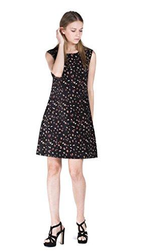 Eyekepper robe courte femme demoiselle manches coute tunique motif floral Noir