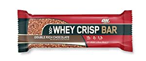 Optimum Nutrition 100 Percent Whey Crisp Double Rich Chocolate High Protein Bars 50 g (pack of 12)