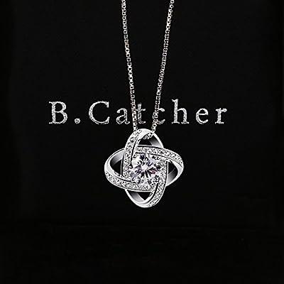 BCatcher Women Necklaces Sterling Silver Cubic Zirconia Pendant Gemini Necklace