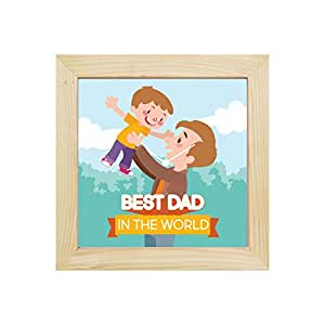YaYa cafe Best Dad in The World Desk Clock for Dad - 8x8 inches