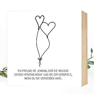Freundschaft ❤️ Liebe - einzigartiges Holzbild 15x15x2cm zum Hinstellen/Aufhängen, echter Fotodruck mit Spruch auf Holz - schwarz-weißes Wand-Bild Aufsteller zur Dekoration oder Geschenk