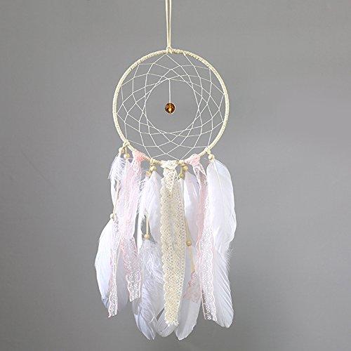 �nger mit Spitze Band Feder Quaste handgemachte traditionelle Wandbehang Dreamcatcher für Schlafzimmer Kinder Jungen Mädchen Zimmer Baby Dusche Party Dekoration (Baby-dusche Handwerk)