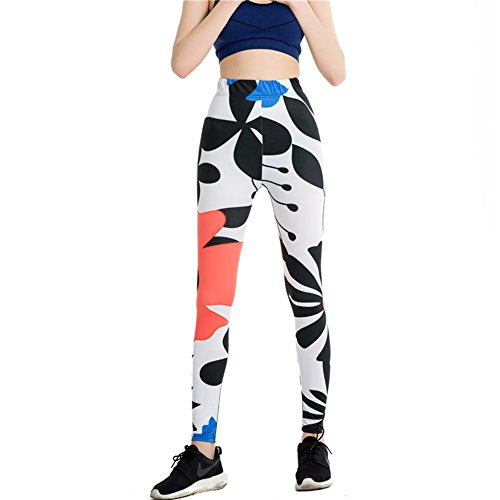 Morbuy Damen Leggings, Sport Gym Yoga Workout Pants Basic Fitness Hohe Taille Jogginghose Trainingshose Skinny Hosen Hose Sporthose (Zweige) -