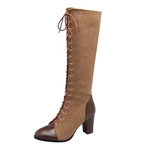 YE Damen Kniehoch Stiefel Blockabsatz High Heels mit Schnürung und Reißverschluss 8cm Absatz Elegant Schuhe