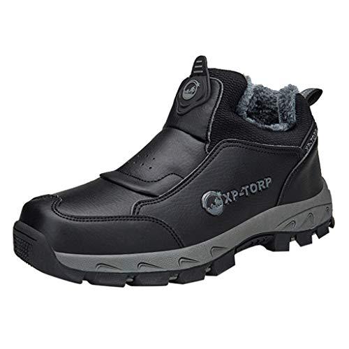 HDUFGJ Herren Trekking-& Wanderhalbschuhe Plus Samt rutschfest Outdoor-Schuhe Sneaker Verschleißfest Wasserdicht Laufschuhe Mode Freizeitschuhe Leichtgewicht Turnschuhe Damen 42(Schwarz)