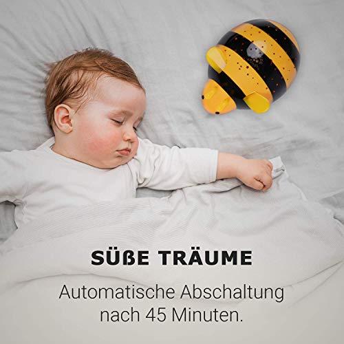 Einschlafhilfe mit Sternenlicht für Baby & Kind - Biene Sternenlampe für das Babyzimmer & Kinderzimmer - Sternenlicht, Sternenlampe, Sternenhimmel, Projektor, Nachtlicht, Kinderzimmer, Kind, Farbspiel, einschlafhilfe kind, einschlafhilfe, Biene, Babyzimmer, Baby