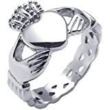 Konov Jewellery Stainless Steel Unisex Men's Fancy Celtic Claddagh Heart Crown Love Ring Wedding Band, Color Silver (with Gift Bag)