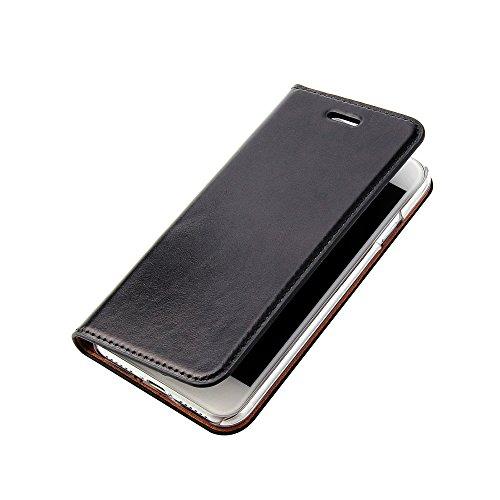 Wormcase ® Handytasche kompatibel für das iPhone 8 und 7 - LEDERHÜLLE - HANDGEFERTIGT - KARTENFACH - MAGNETVERSCHLUSS -Farbe Schwarz- Case Echt-Leder-Tasche-Hülle-Case Etui 7-leder Etui