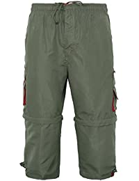 MENS 2 IN 1 COMBAT CARGO ZIP OFF SUMMER JOGGING CASUAL TROUSERS SHORTS 3/4 PANTS