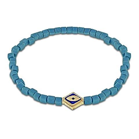 LUIS MORAIS 14ct Yellow Gold Evil Eye with Blue Enamel Lozenge and Sapphire Bracelet