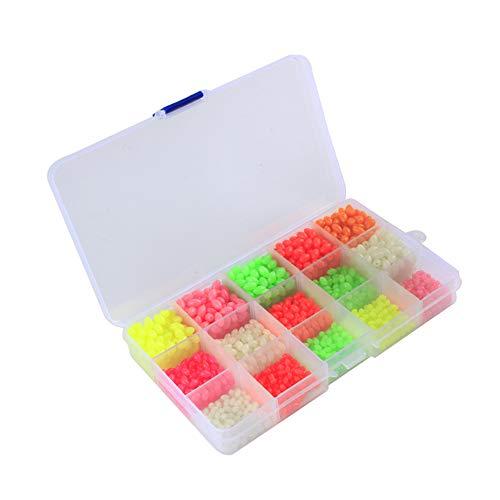ouken Rund Oval Geformte Bunte Glow Angeln Perlen Eier Kit Zubehör Hartplastik Luminous Glow Angeln Perlen Kit mit Box 1 Set -