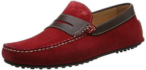 Florsheim Comet, Herren Slipper & Mokassins Rot - Rouge (Red Suede/Dark Brown Calf)