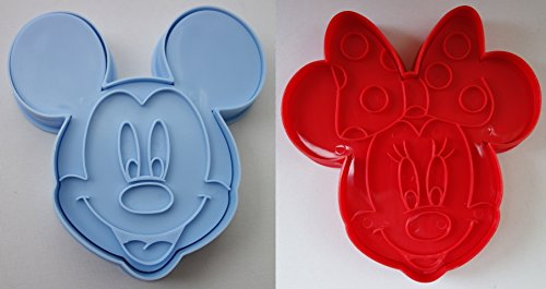 GKA 3D 2er Set Backform Disney Mickey Mouse und Minnie Mouse Plätzchenform Pralinenform Fondant Schokoladenform Form für Kinder Backen Seife Pralinen Fondant Schokolade