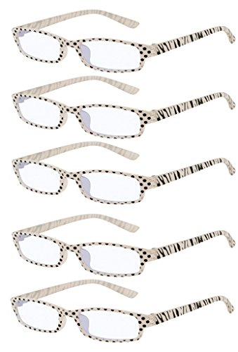 4sold Slim The Reading Glasses Company Lightweight Comfortable Readers Value 5 Pack Designer Style Mens Womens With Case and Pouch Zebra Black +4.00