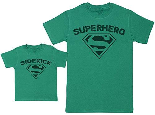 (Sidekick & Superhero - Passende Vater Baby Geschenkset - Herren T-Shirt & Baby T-Shirt/Baby Top - Grün - M & 2-3 Jahre)